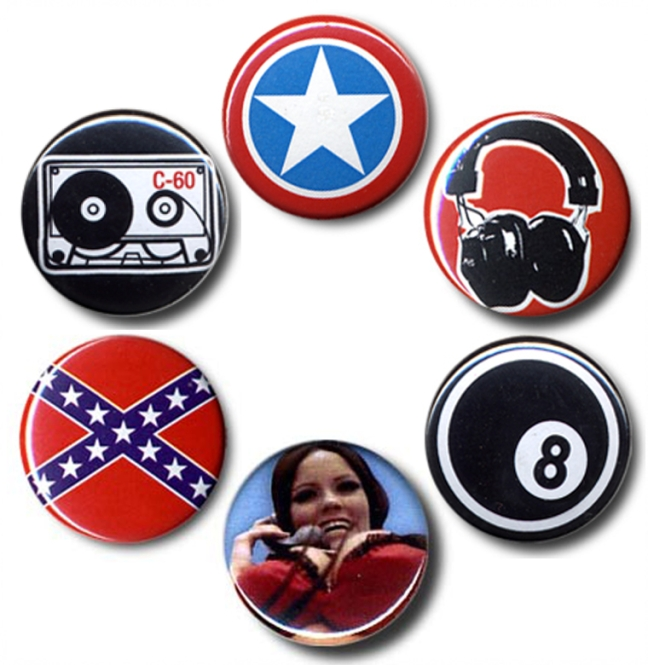 "BUTTON SET ""ROCK'N ROLL NERD"