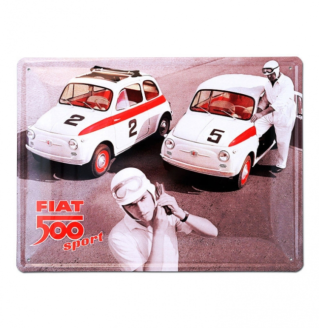 fiat 500 sport blechschild fibb12 fiat 500. Black Bedroom Furniture Sets. Home Design Ideas